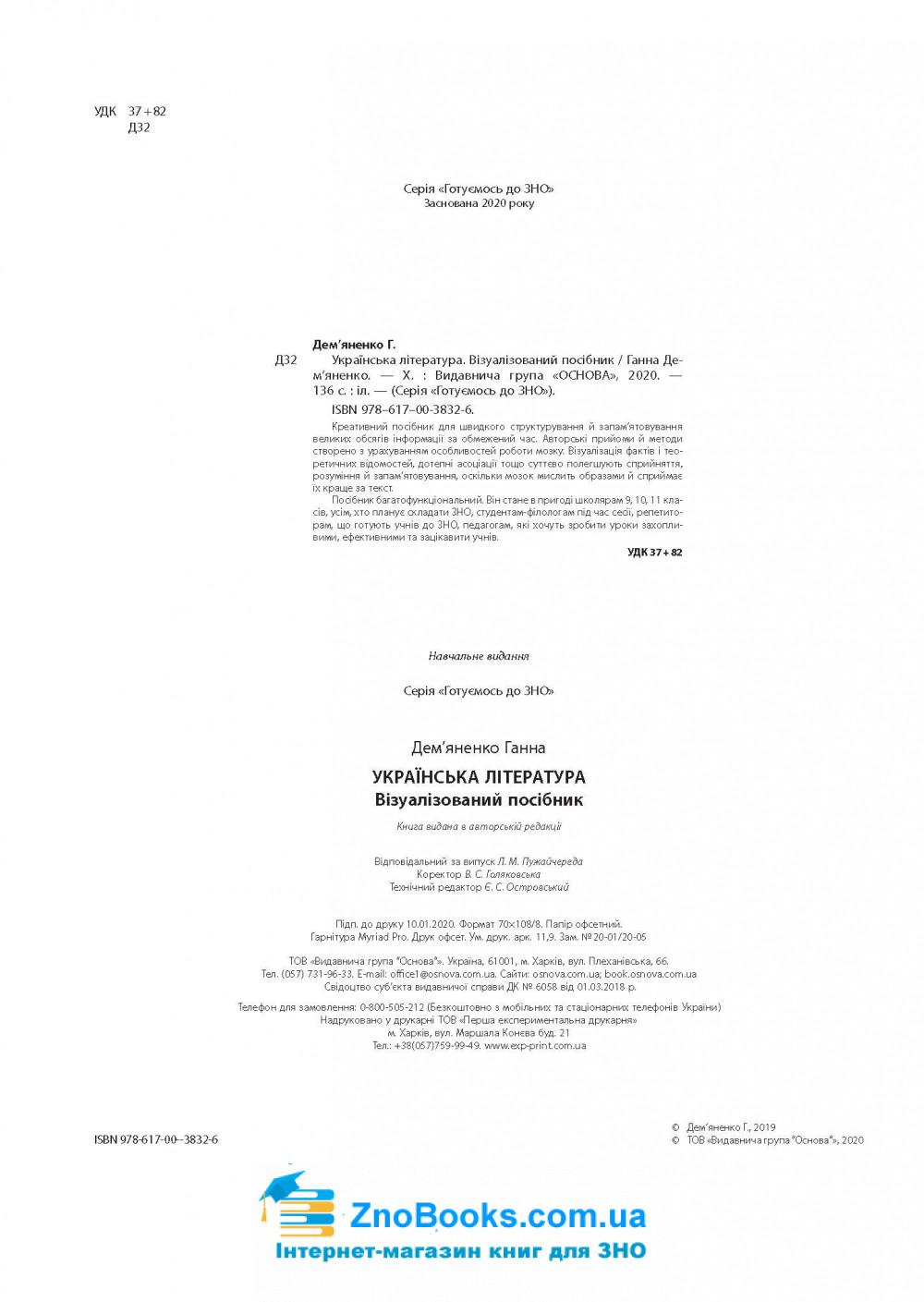 Українська література ЗНО 2021. Візуалізований посібник : Дем'яненко Г. Видавництво Основа. 1
