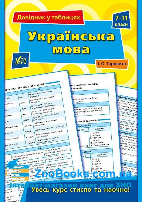 Українська мова 7-11 класи. Серія «Довідник у таблицях» : Таровита І. УЛА. купити 0