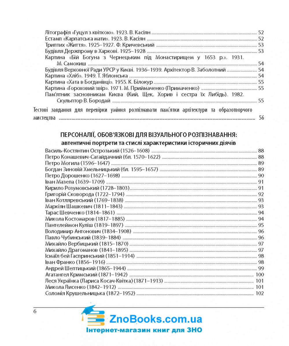 ЗНО 2022 Історія України . Пам'ятки архітектури та образотворчого мистецтва, персоналії, дати + тестові завдання : Земерова Т. Підручники і посібники. 6