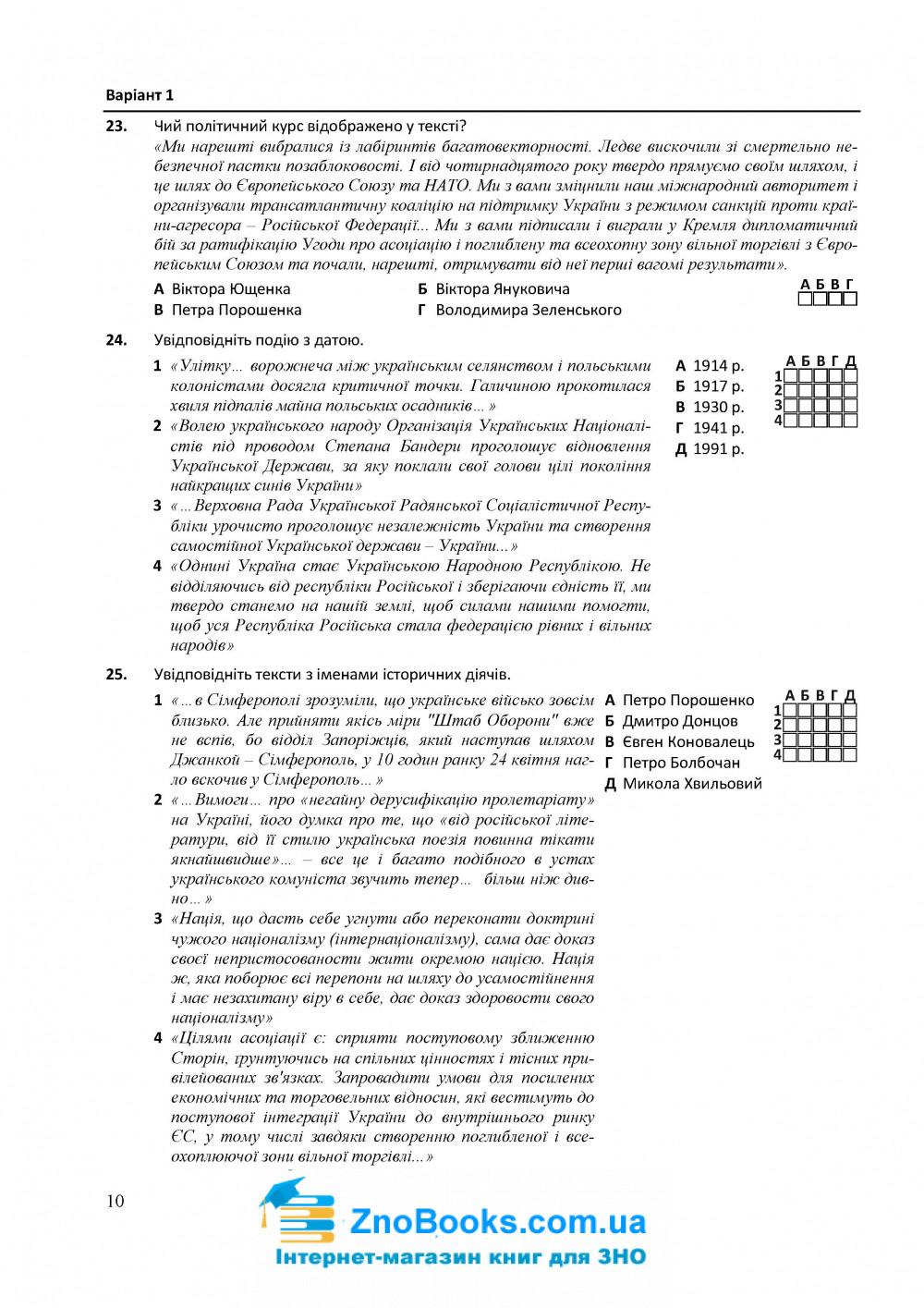 Історія України. Тестові завдання у форматі ЗНО 2021 : Земерова Т. Підручники і посібники купити 10