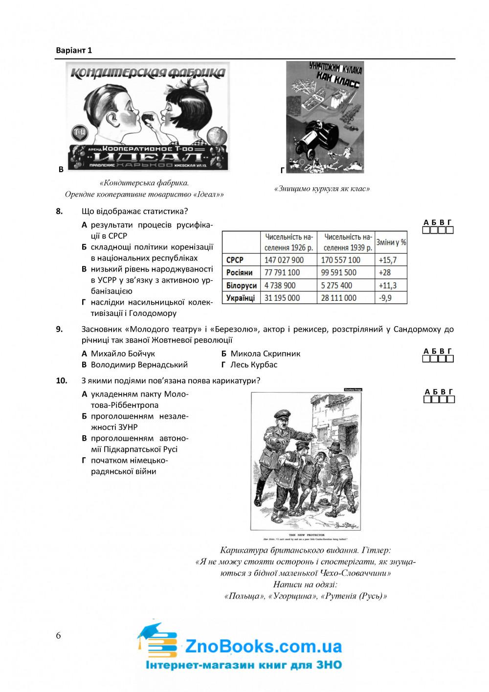 Історія України. Тестові завдання у форматі ЗНО 2021 : Земерова Т. Підручники і посібники купити 6
