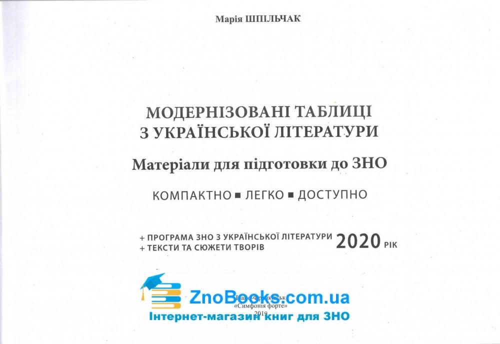 Модернізовані таблиці з української літератури. для підготовки до ЗНО : Шпільчак М. купити 1