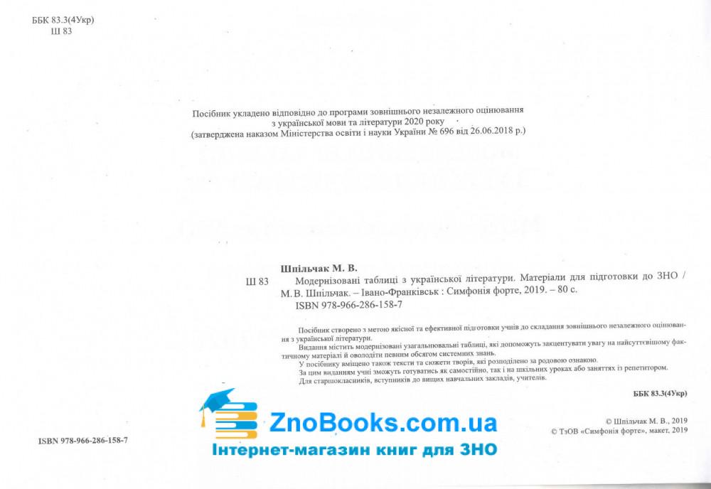 Модернізовані таблиці з української літератури. для підготовки до ЗНО : Шпільчак М. купити 2