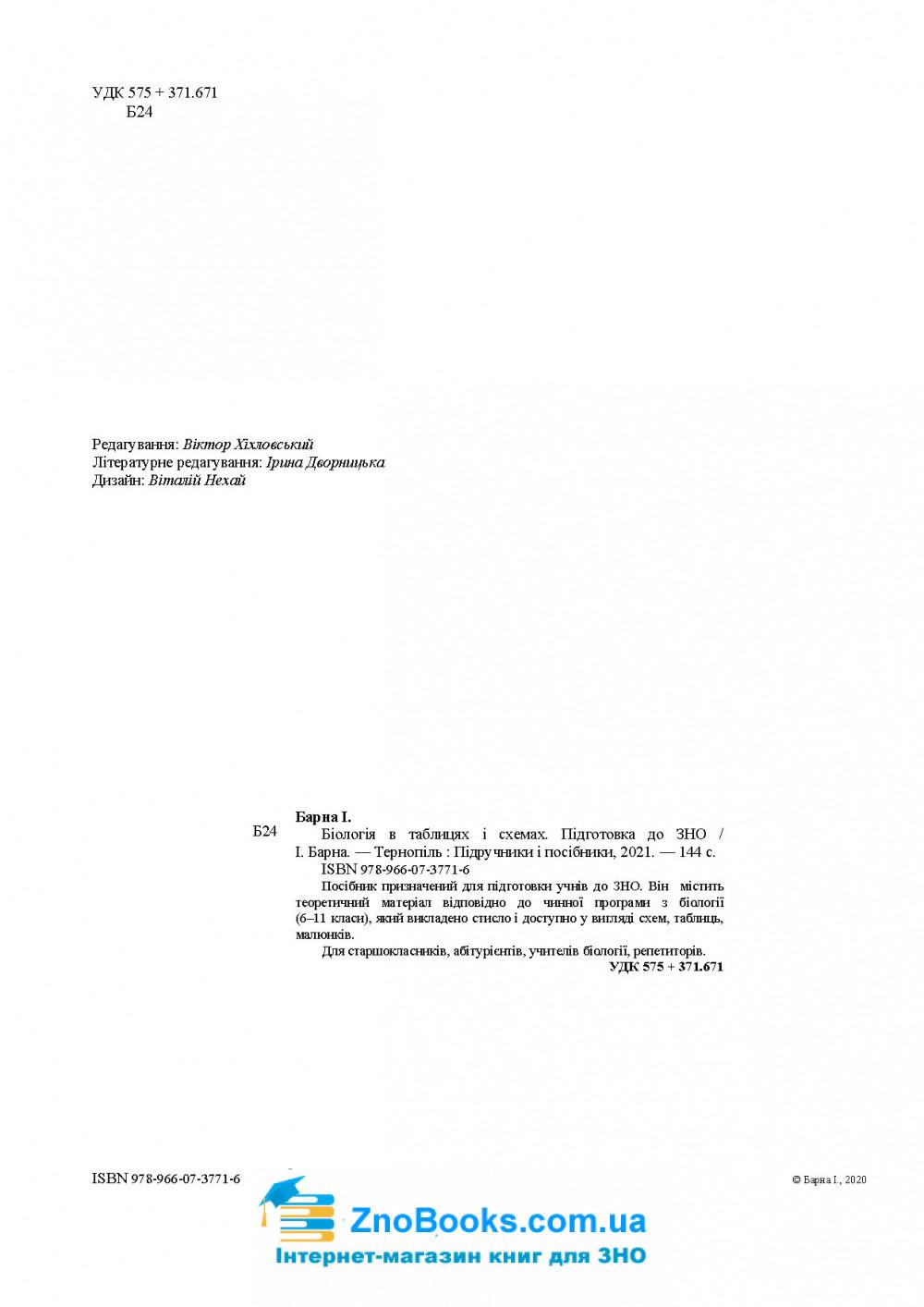 Біологія в таблицях і схемах до ЗНО 2021 : Барна І. Підручники і посібники 2
