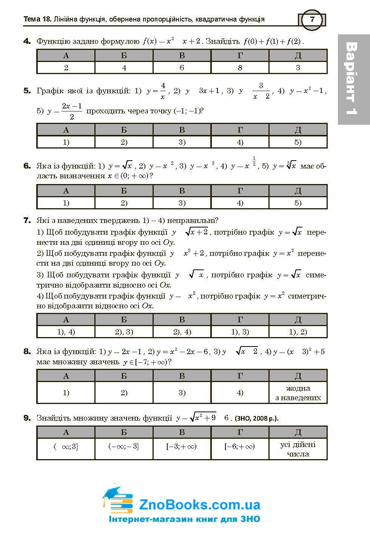 Математика ЗНО тестові завдання . Частина ІІ - алгебра і початки аналізу : Клочко І. купити 7
