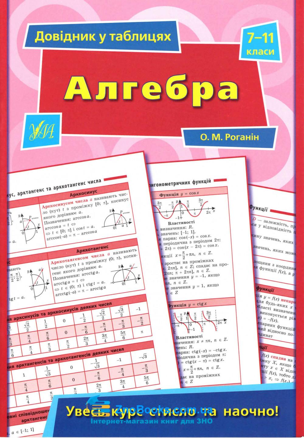 Алгебра 7-11 класи. Серія «Довідник у таблицях» : Роганін О. М. УЛА. купити 0
