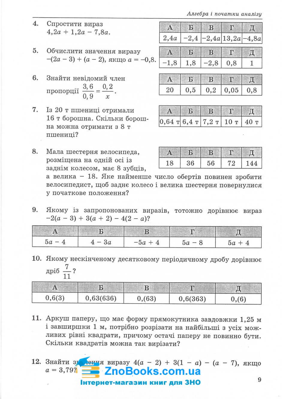 ЗНО та ДПА 2021. Математичний тренажер : Істер О. Абетка. купити 8