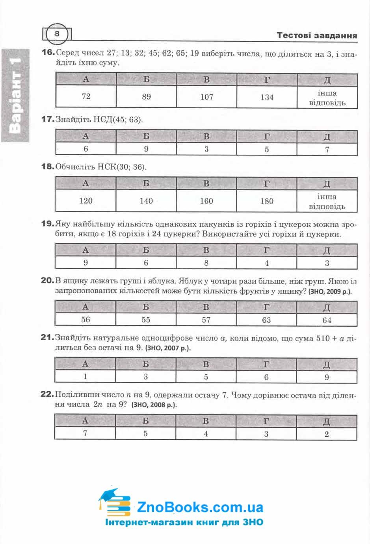 Математика ЗНО тестові завдання Частина І - алгебра : Клочко І. Я. Навчальна книга - Богдан. купити  8