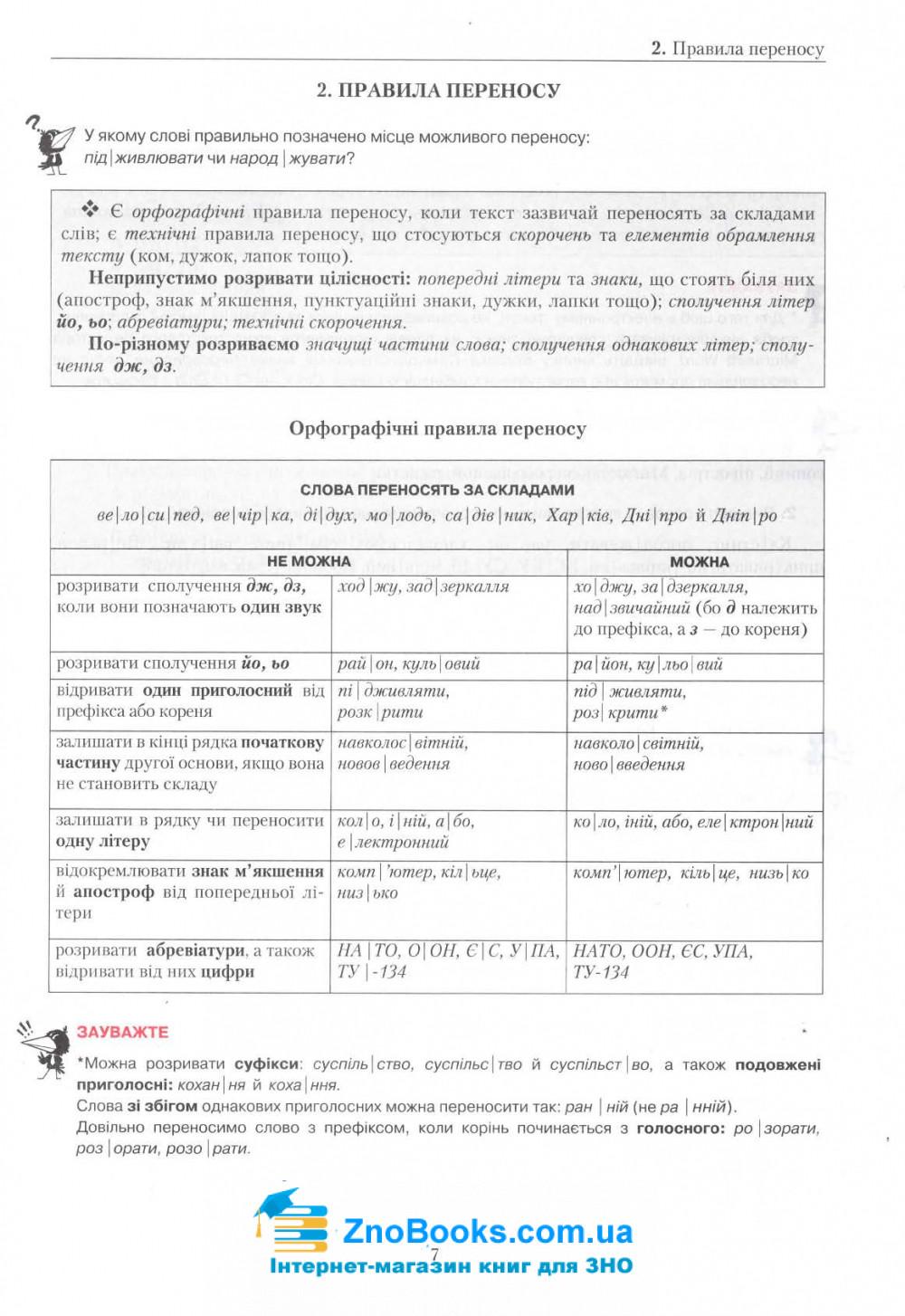 Авраменко О. Правопис з української мови у таблицях, тестові завдання : нове видання 3. Грамота 7