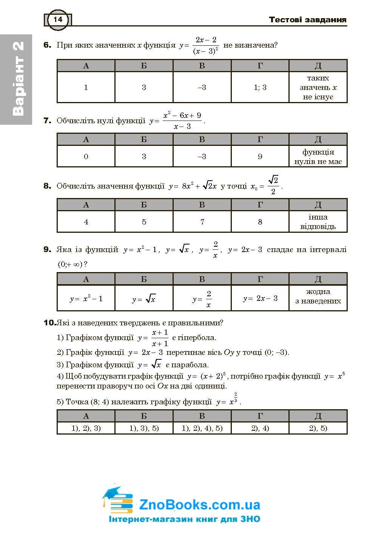 Математика ЗНО тестові завдання . Частина ІІ - алгебра і початки аналізу : Клочко І. купити 14