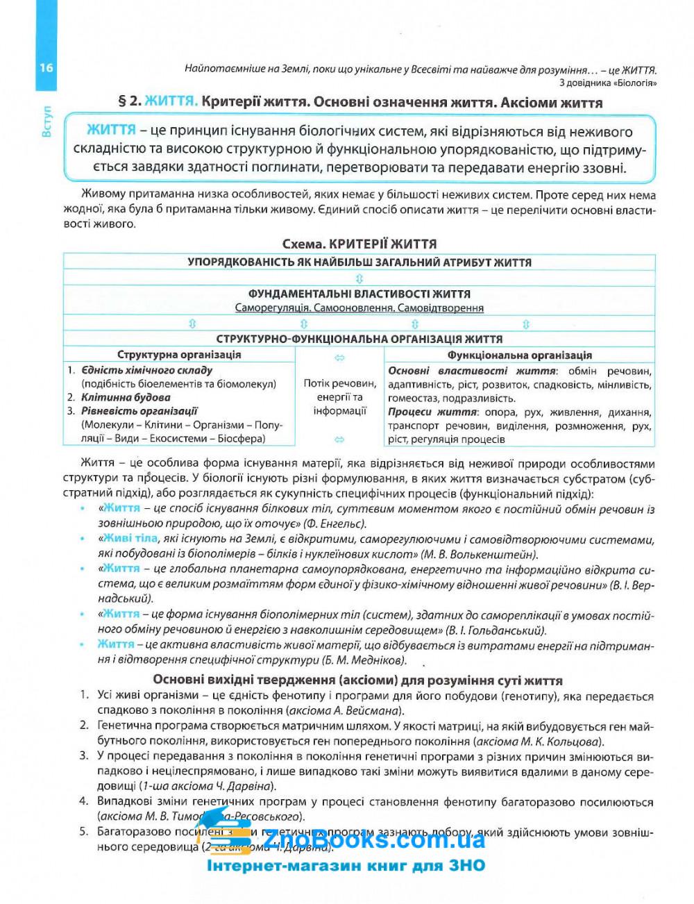Довідник Соболь В. Повний курс біології для підготовки до ЗНО та ДПА 2021. 12