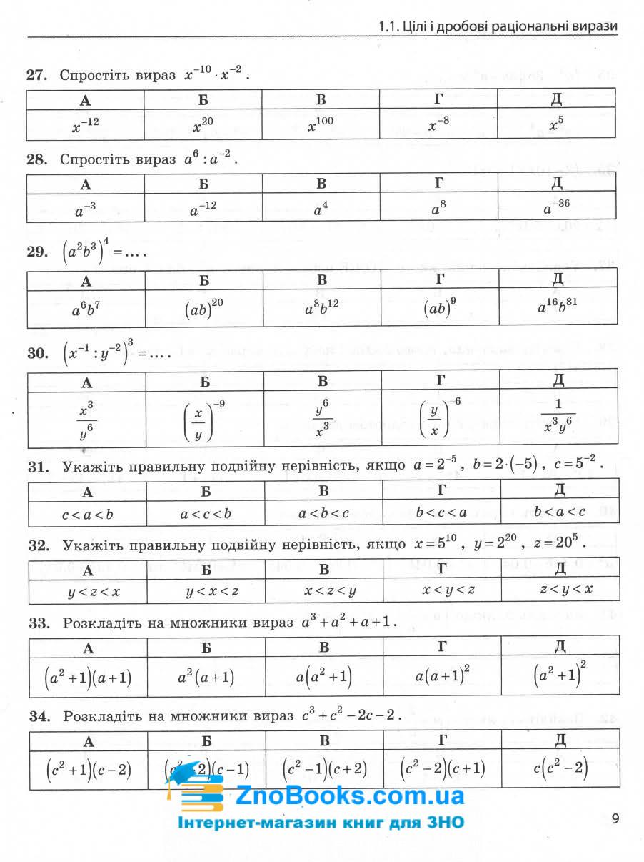 ЗНО 2022 математика в тестах. Частина 1 : Захарійченко Ю. Ранок. купити 8