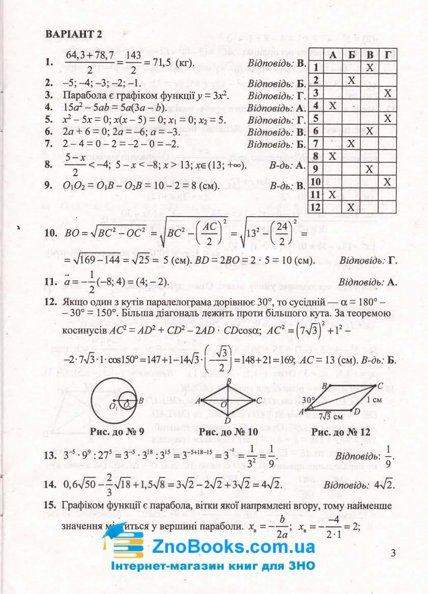 Відповіді до збірника для ДПА 2020 з математики 9 клас Істера О. купити 3