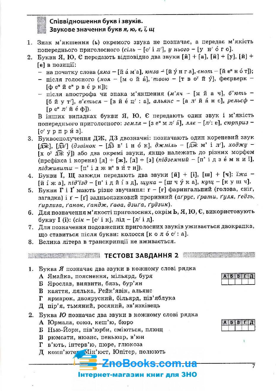 Українська мова та література ЗНО 2020. Довідник + тести : Куриліна О. Абетка. купити 7