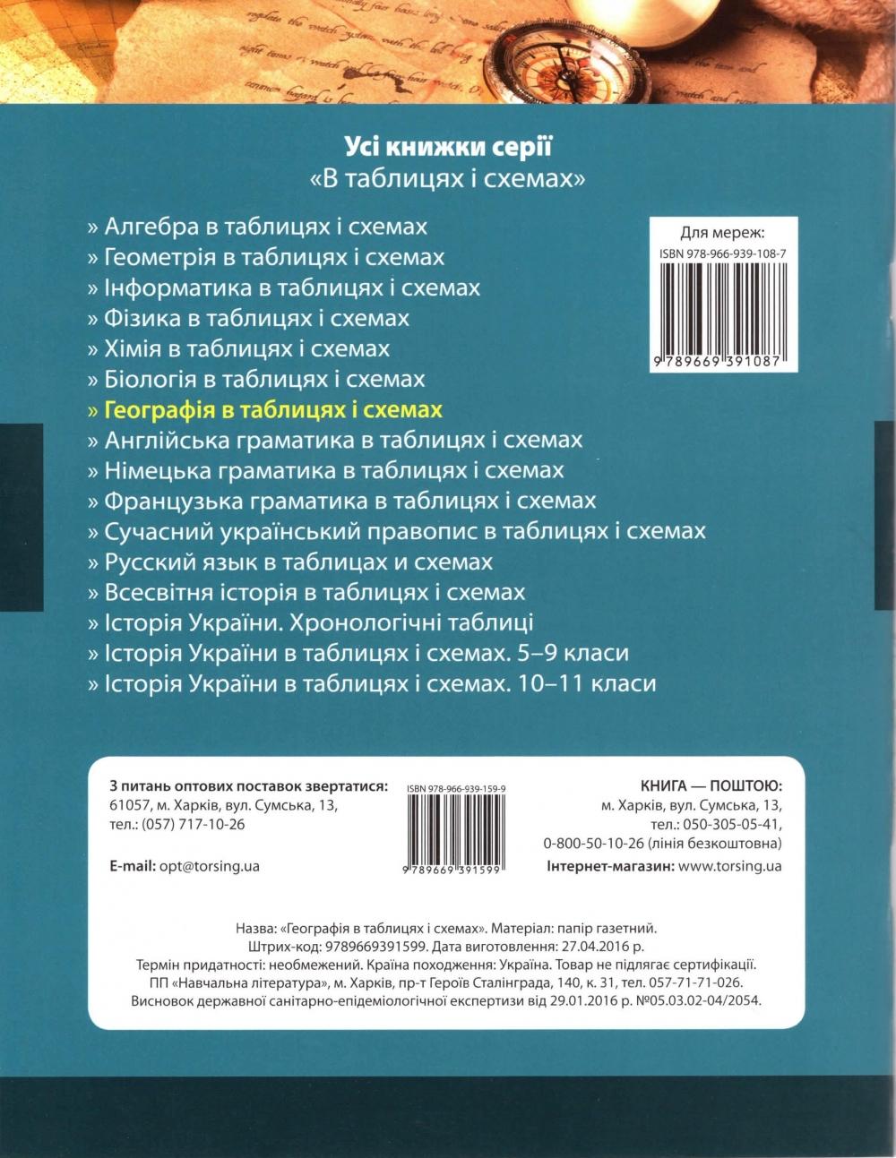 Таблиці та схеми Географія до ЗНО : Мастюх М. Торсінг. купити  11