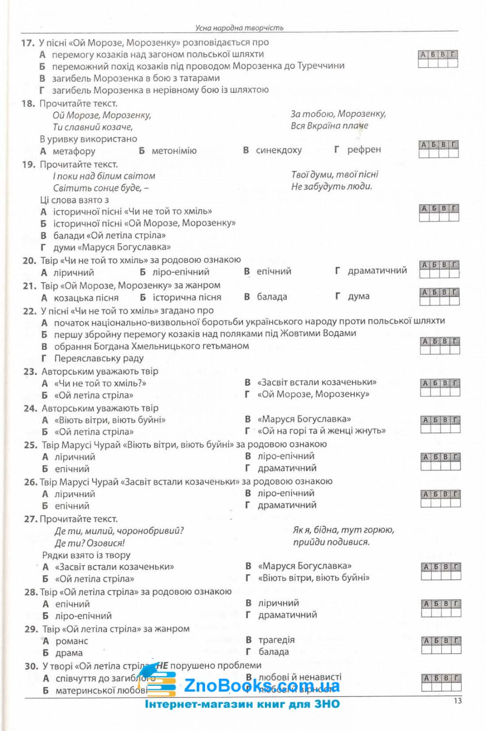 Українська література. Комплексне видання ЗНО 2022 : Куриліна О., Пристай Л. Абетка. 8