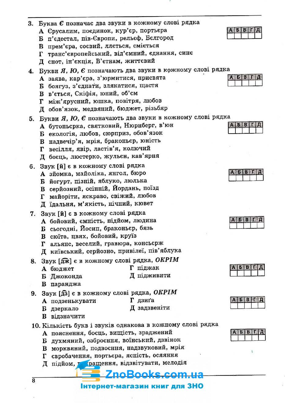 Українська мова та література ЗНО 2020. Довідник + тести : Куриліна О. Абетка. купити 8