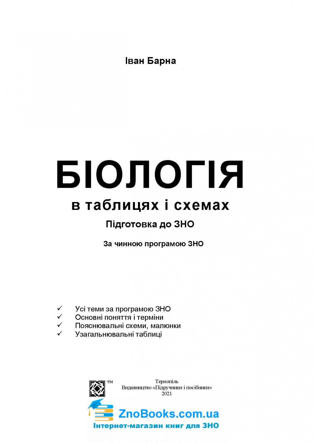 Біологія в таблицях і схемах до ЗНО 2021 : Барна І. Підручники і посібники 1