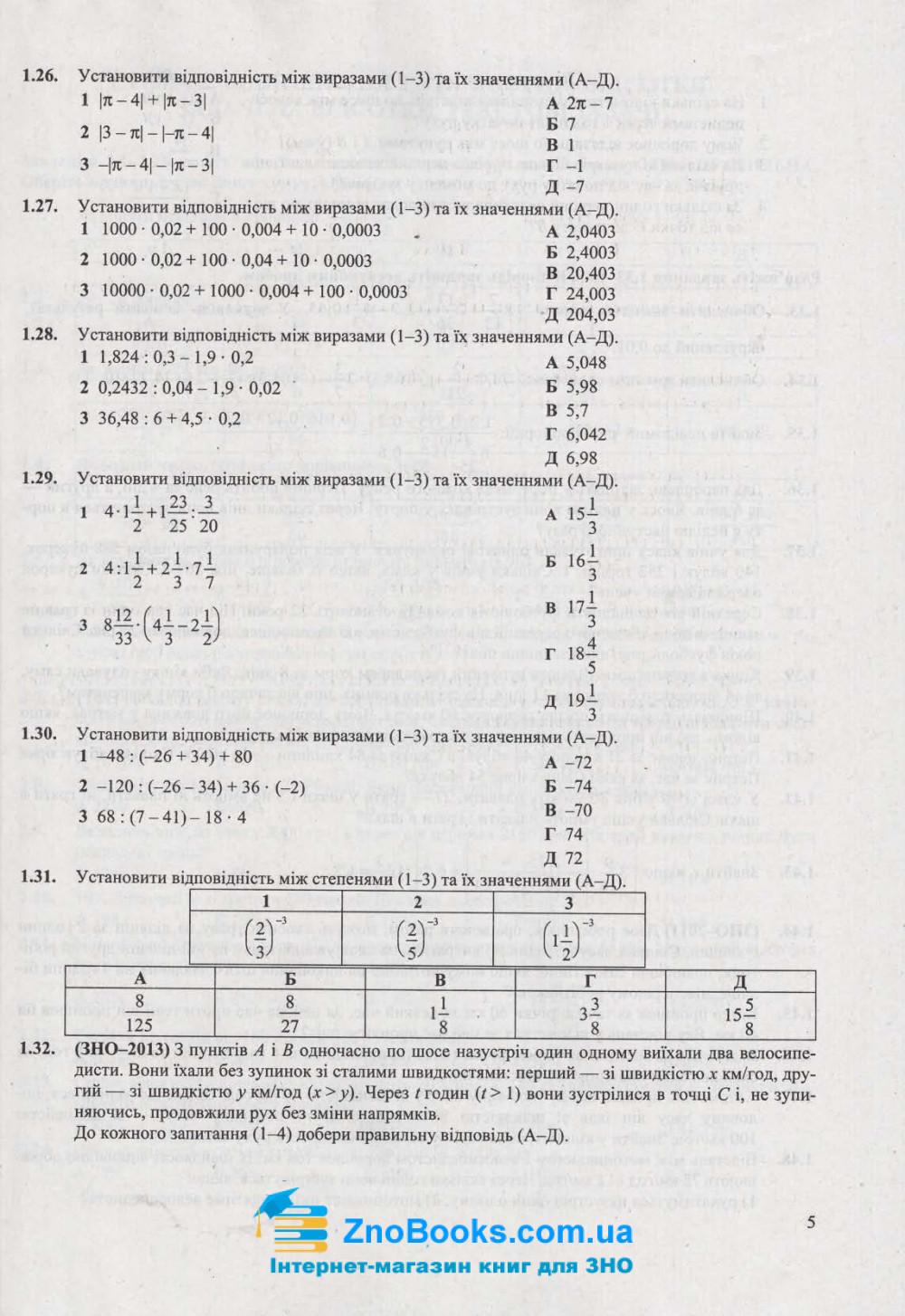 ЗНО 2021 Математика. Збірник тестів : Капіносов А. Підручники і посібники. купити  5