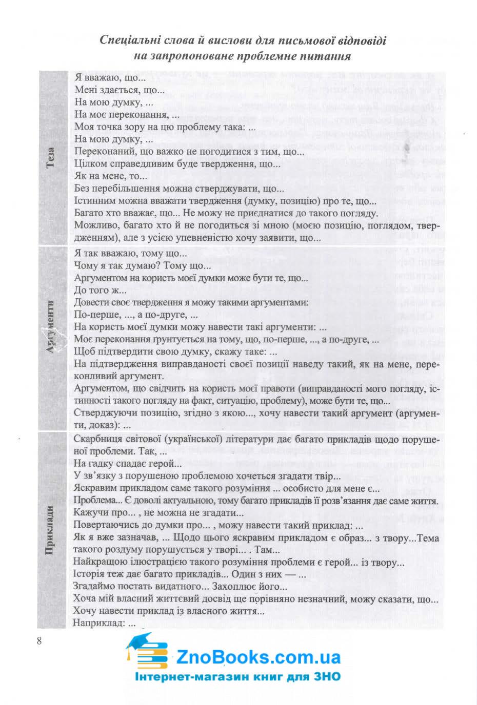 Завдання відкритої форми з розгорнутою письмовою відповіддю. Українська мова ЗНО 2021 : Готевич С. 8